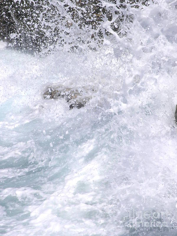 White Water Art Print featuring the photograph Crashing Against Lava Rocks by Mary Deal