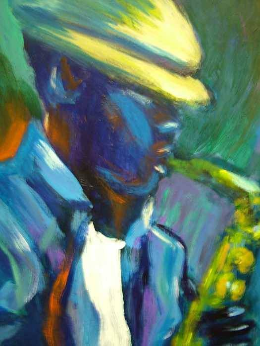 Sax Player Art Print featuring the painting D by Jan Gilmore