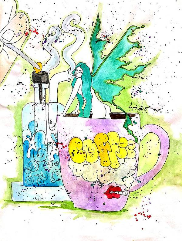 Watercolor Art Print featuring the drawing Dabs And Coffee by Super Apple Pie