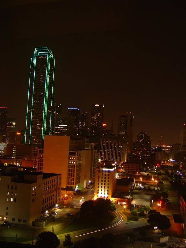 Landscape Art Print featuring the photograph Dallas Night Moves by Larry Underwood