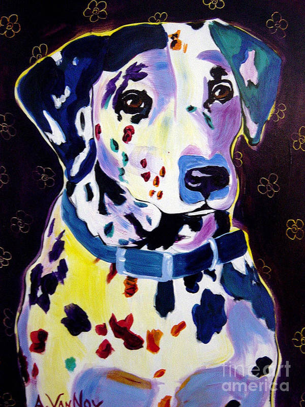Dog Art Print featuring the painting Dalmatian - Dottie by Alicia VanNoy Call