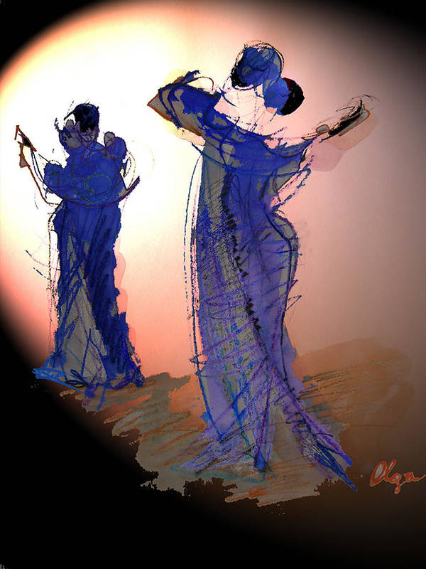 Tango Art Print featuring the painting Dance In Purple by Olga Gernovski