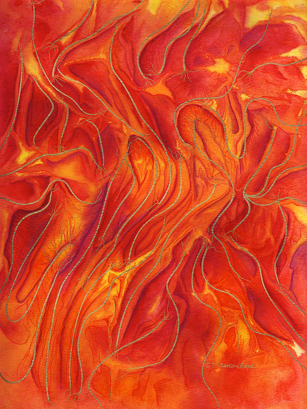 Fire Art Print featuring the painting Dance Of Fire by Maureen Frank The Mandala Lady