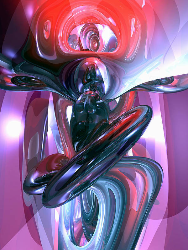 3d Art Print featuring the digital art Dancing Hallucination Abstract by Alexander Butler