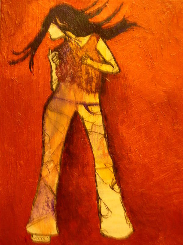 Portrait Art Print featuring the painting Dancing In The Club by L Visser