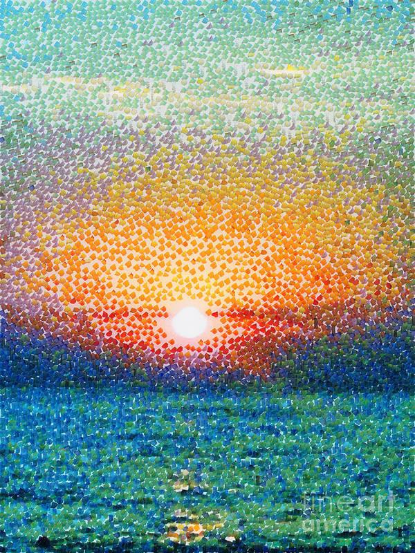 Down Art Print featuring the digital art Dawn On A Caspian Sea by Magomed Magomedagaev