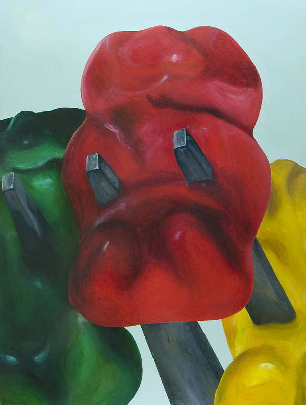Gummy Bear Art Print featuring the painting Death Of A Gummy Bear I by Josh Bernstein