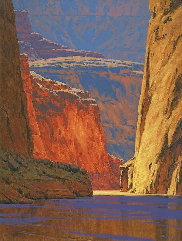 Grand Canyon Art Print featuring the painting Deep In The Canyon by Cody DeLong