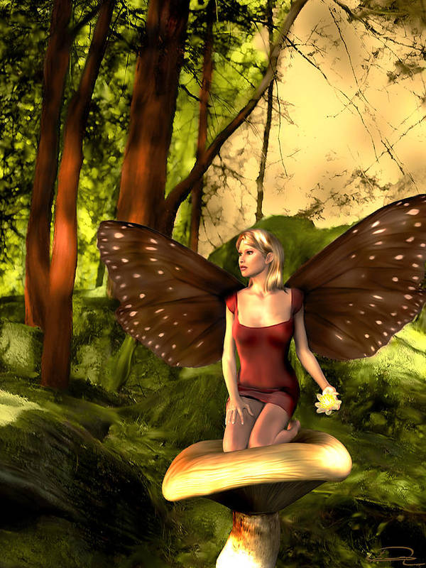 Fairy Art Print featuring the painting Deep In The Forest by Emma Alvarez