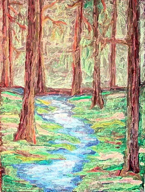 Landscape Art Print featuring the digital art Deep In The Forest by Margie Byrne