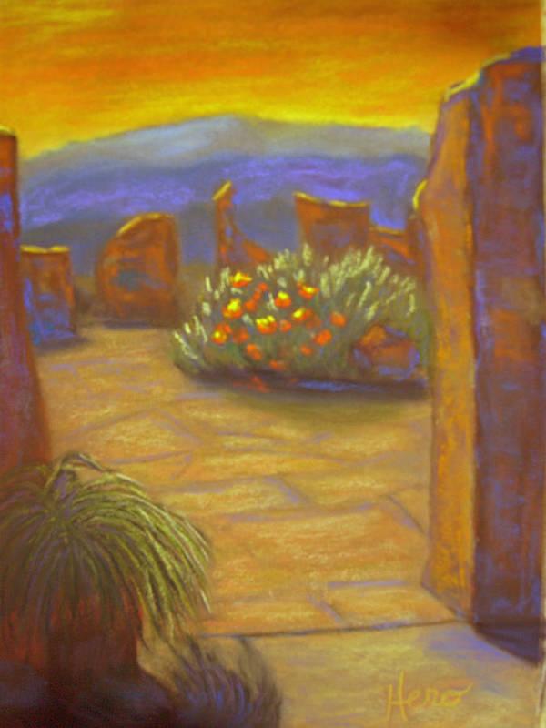 Desert Art Print featuring the pastel Desert Rose by Marcia Hero