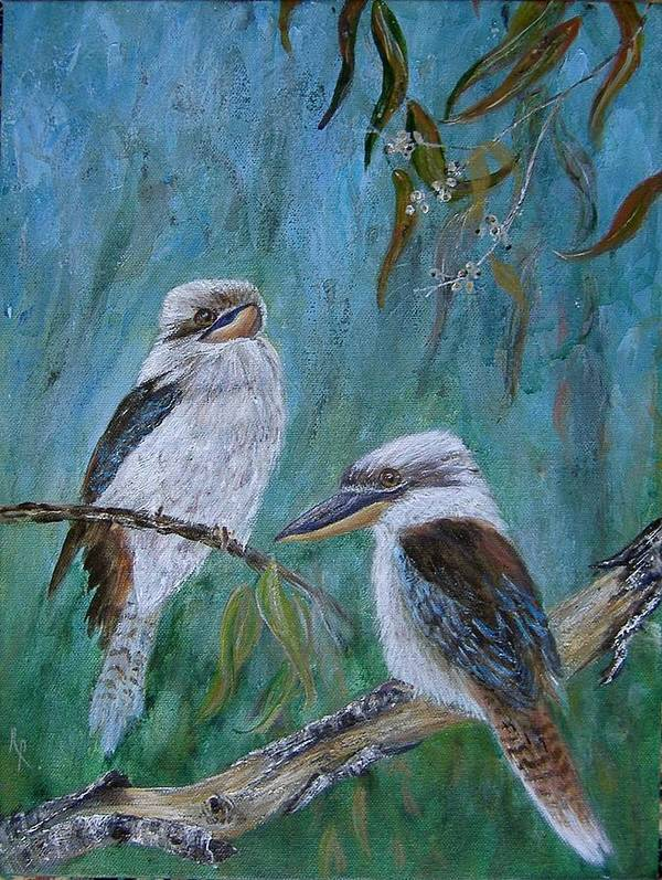Birds Art Print featuring the painting Did You Hear Something by Rita Palm