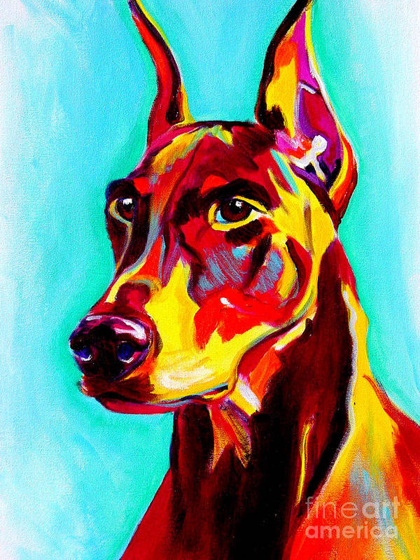 Dog Art Print featuring the painting Doberman - Prince by Alicia VanNoy Call