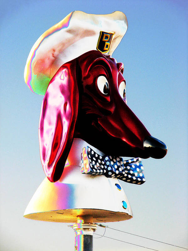 Doggie Art Print featuring the photograph Doggie Diner Sign by Samuel Sheats