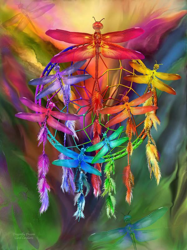 Carol Cavalaris Art Print featuring the mixed media Dragonfly Dreams by Carol Cavalaris