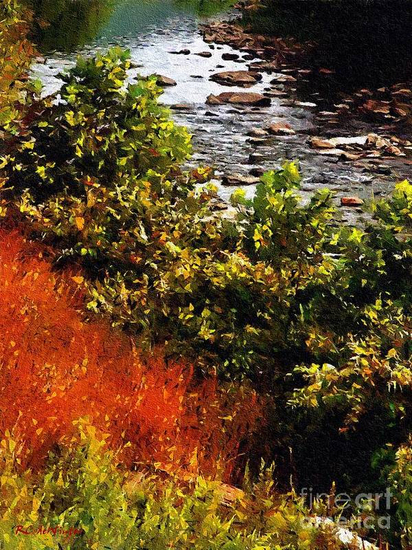 River Art Print featuring the painting Early Autumn Along The Naugatuck by RC DeWinter