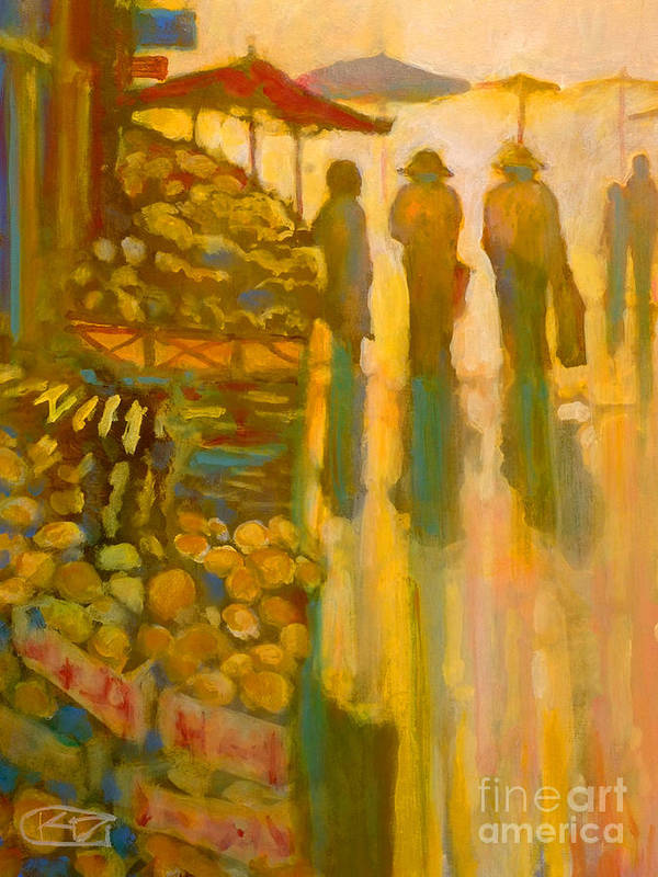 Market Art Print featuring the painting Early Morning Market by Kip Decker