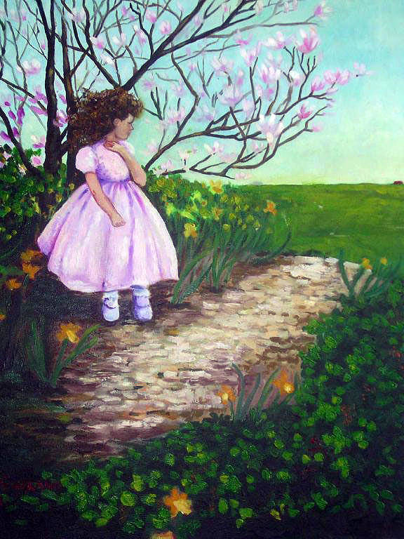Landscape Child Girl Brunette Party Dress Flowers Impressionist Art Print featuring the painting Easter In Hershey by Hilary England