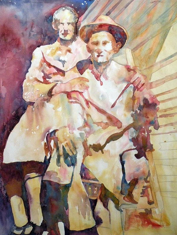 Couple Art Print featuring the painting Edda's Folks II by Wendy Hill