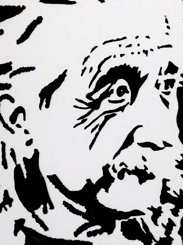 Albert Einstein Paintings Art Print featuring the drawing Einstein Waiting In Line by Robert Margetts
