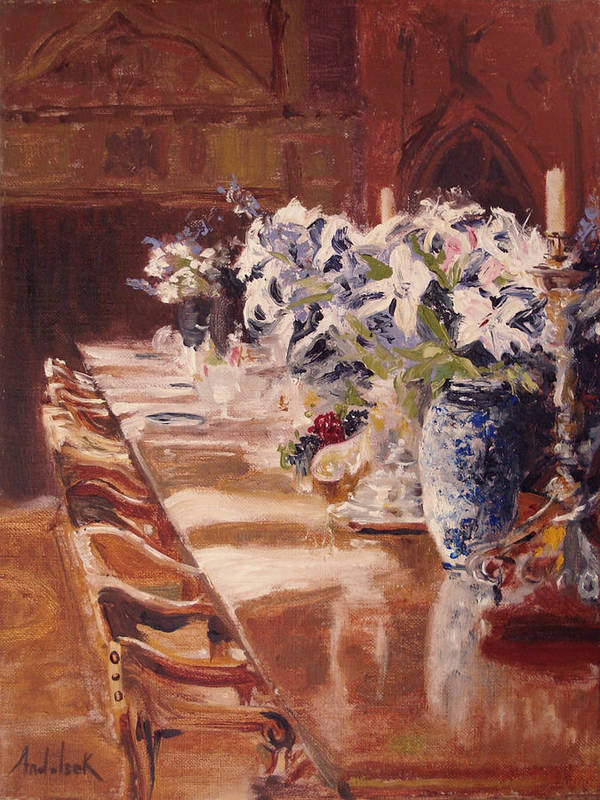 Vases Art Print featuring the painting Elegant Dining At Hearst Castle by Barbara Andolsek