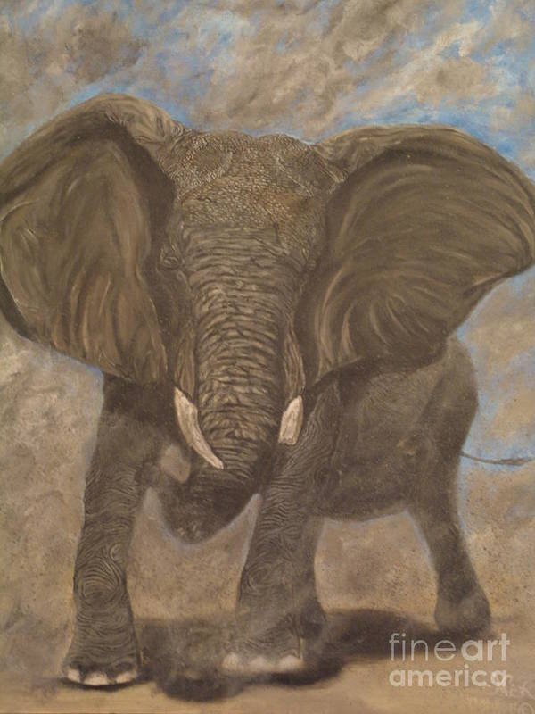 Elephant Art Print featuring the painting Elephant Charging by Nick Gustafson