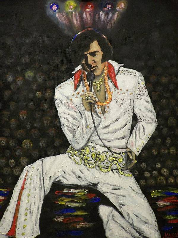 People Art Print featuring the painting Elvis by Charles Vaughn