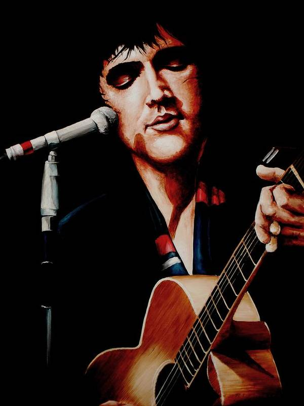 Elvis Art Print featuring the painting Elvis With Scarf by Richard Klingbeil