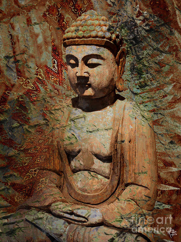 Buddha Art Print featuring the painting Evening Meditation by Christopher Beikmann