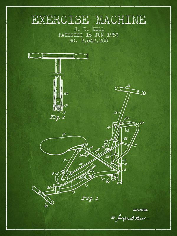 Exercise Art Print featuring the digital art Exercise Machine Patent From 1953 - Green by Aged Pixel