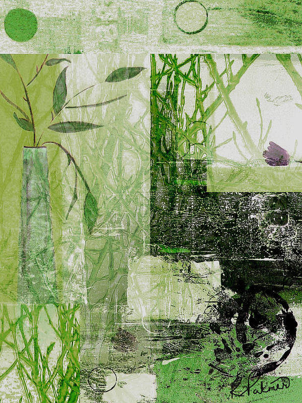 Abstract Art Print featuring the mixed media Faded Floral by Ruth Palmer