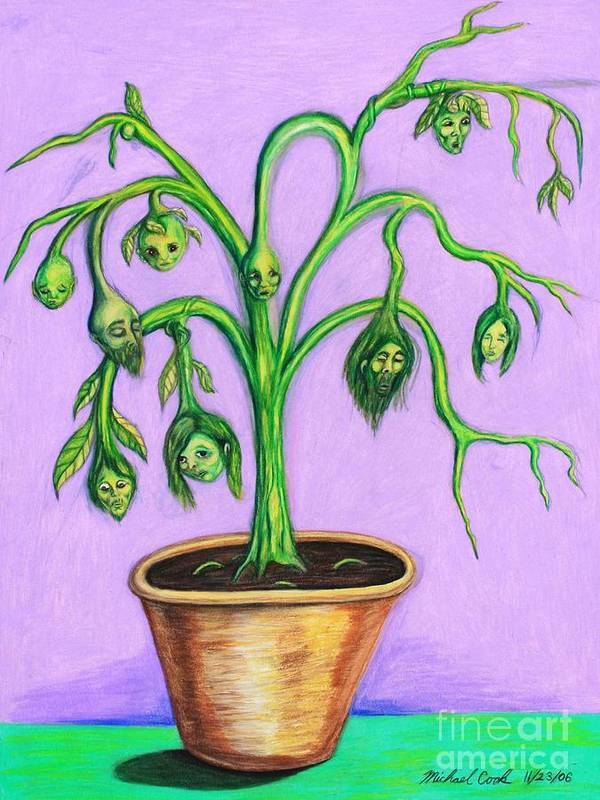 Surreal Tree Plant Art Print featuring the drawing Family Tree by Michael Cook