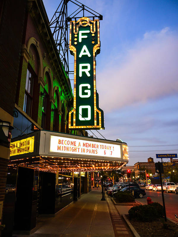 Fargo Art Print featuring the photograph Fargo Theater And Downtown Along Broadway Drive by Paul Velgos
