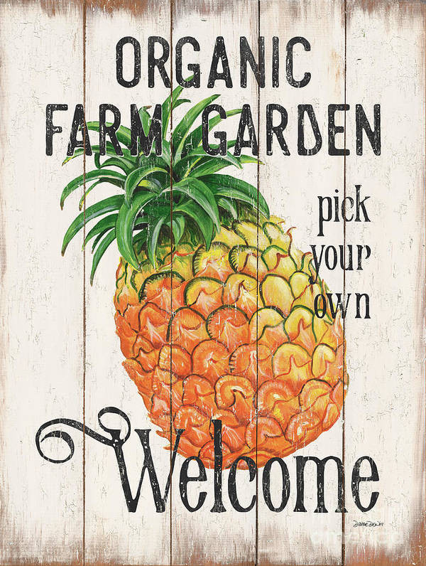 Pineapple Art Print featuring the painting Farm Garden 1 by Debbie DeWitt