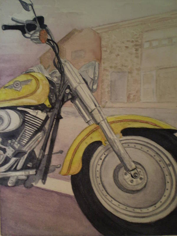 Motorcycle Art Print featuring the painting Fat Boy by Alyson Harris