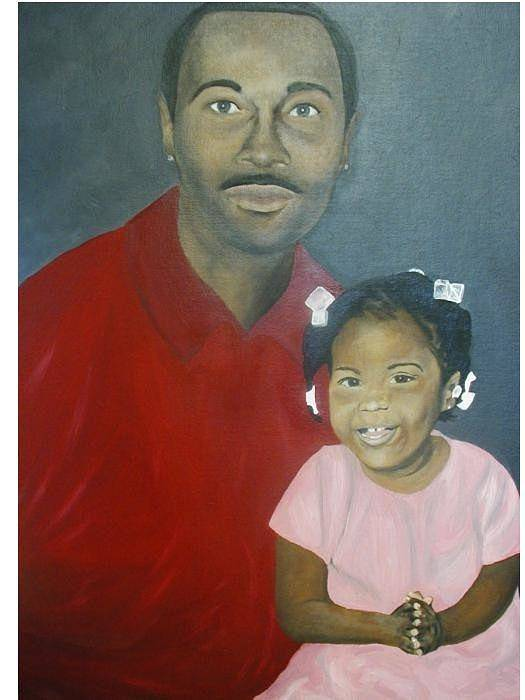 Portrait Art Print featuring the painting Father And Daughter by Angelo Thomas