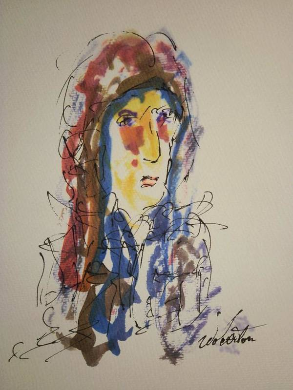 Portrait Art Print featuring the painting Female Face Study N by Edward Wolverton