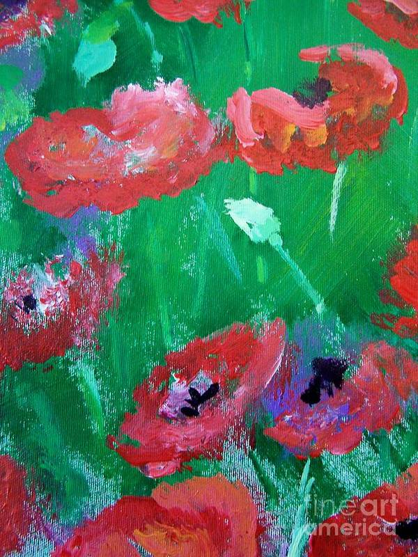 Art Print featuring the print Field Of Red 2 by Geraldine Liquidano