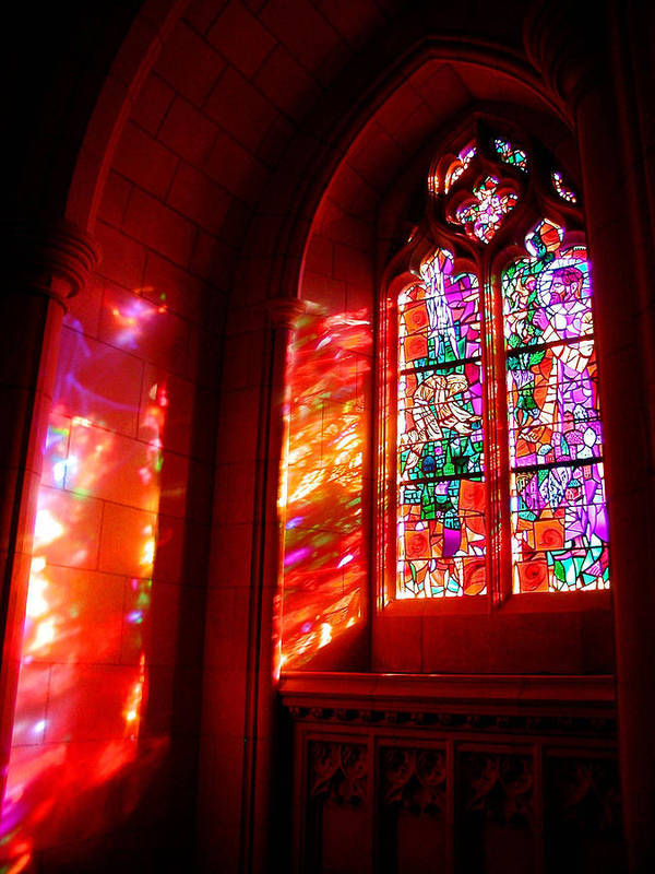 Stained Glass Art Print featuring the photograph Fiery Light 2 by Tom Reynen