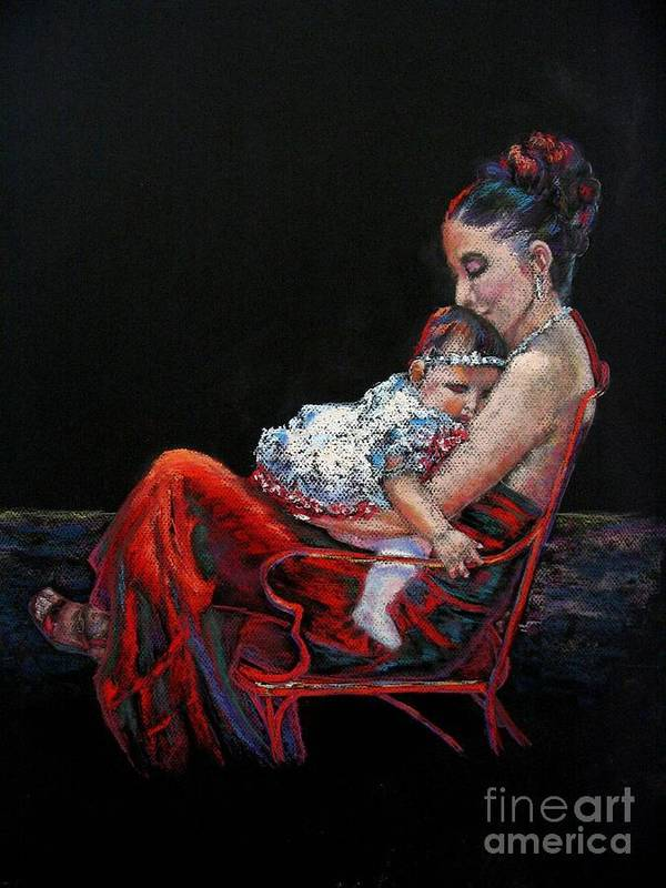 Mother Art Print featuring the painting Fiesta Siesta by Shirley Leswick