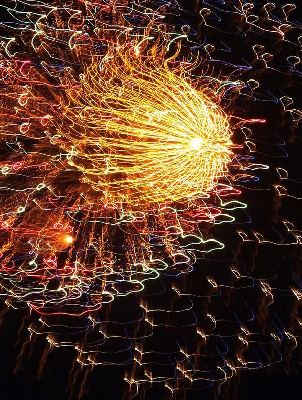 Fireworks Art Print featuring the photograph Fire Flower by Karen Wiles