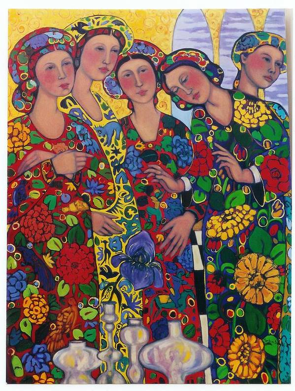 Five Women And The Iris Art Print featuring the painting Five Women And The Iris by Marilene Sawaf