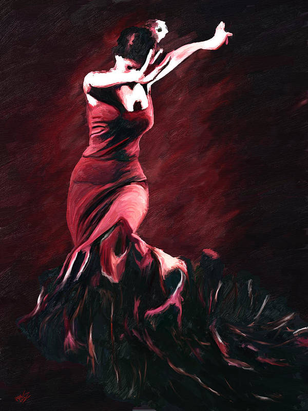 Impressionism Art Print featuring the painting Flamenco Swirl by James Shepherd