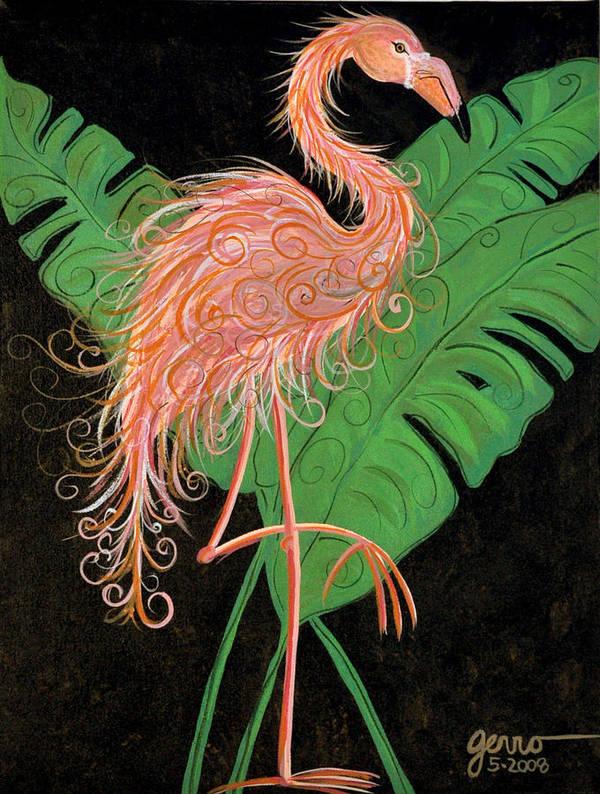 Flamingo Artwork Art Print featuring the painting Flamingo Art Deco by Helen Gerro