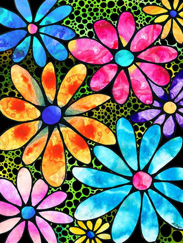 Modern Flower Art Print - Floral Wall Art Cream Dahlia