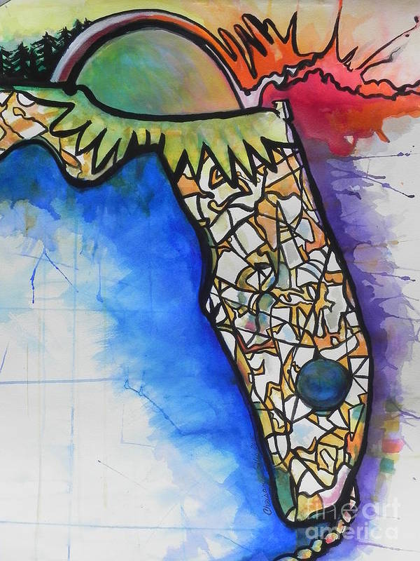 Watercolor Painting Art Print featuring the painting Florida Fantasy by Chrisann Ellis