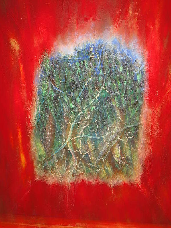 Art Print featuring the painting Forest - Red Background by Socrates Marquez