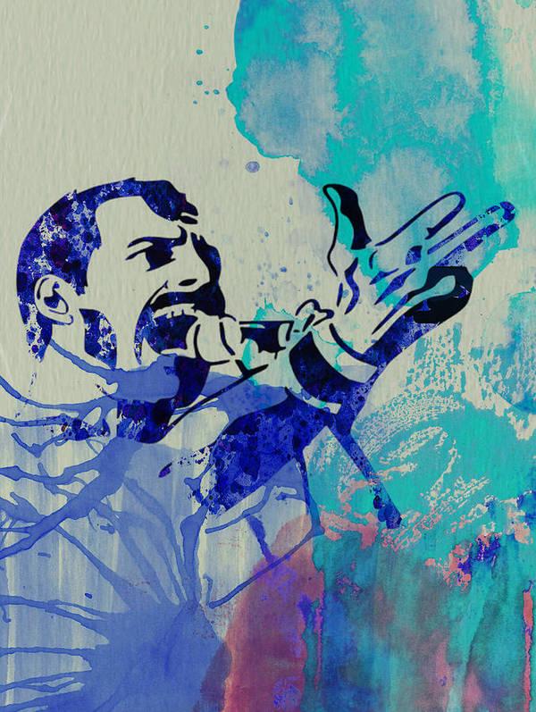 Freddie Mercury Art Print featuring the painting Freddie Mercury Queen by Naxart Studio
