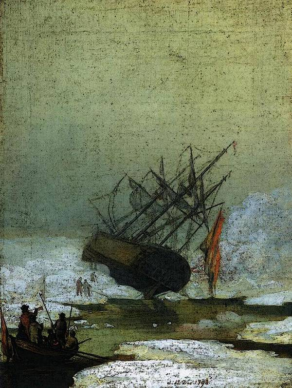 Friedrich Art Print featuring the digital art Friedrich Caspar David Wreck By The Sea by PixBreak Art