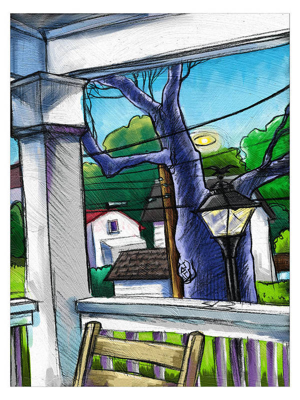 Landscape Sketch Study Trees Houses Chair Lamp Art Print featuring the painting Front Porch by Baird Hoffmire